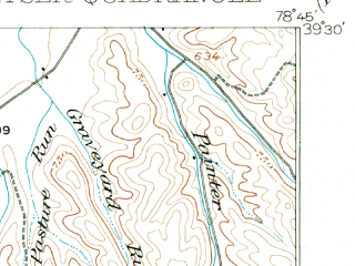 Reduced fragment of topographic map en--usgs--063k--056152--(1920)--N039-30_W079-00--N039-15_W078-45; towns and cities Keyser, Fort Ashby, Romney