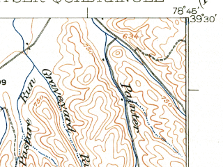 Reduced fragment of topographic map en--usgs--063k--056152--(1922)--N039-30_W079-00--N039-15_W078-45; towns and cities Keyser, Fort Ashby, Romney