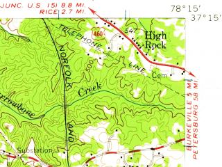 Reduced fragment of topographic map en--usgs--063k--056156--(1958)--N037-15_W078-30--N037-00_W078-15; towns and cities Hampden Sydney, Keysville