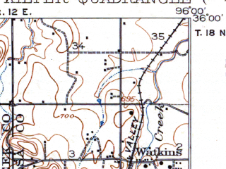 Reduced fragment of topographic map en--usgs--063k--056160--(1916)--N036-00_W096-15--N035-45_W096-00; towns and cities Sapulpa, Glenpool, Kellyville, Kiefer, Mounds
