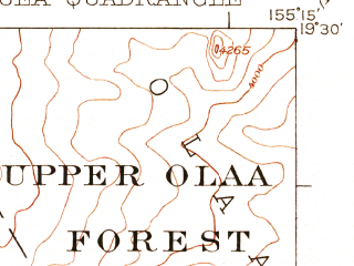 Reduced fragment of topographic map en--usgs--063k--056162--(1921)--N019-30_W155-30--N019-15_W155-15
