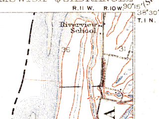 Reduced fragment of topographic map en--usgs--063k--056192--(1912)--N038-30_W090-30--N038-15_W090-15; towns and cities Oakville, Arnold, Murphy, Pevely, Valmeyer