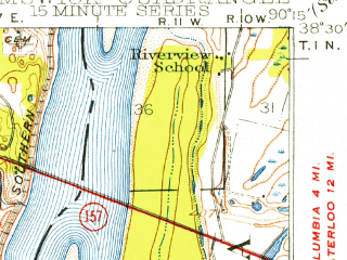 Reduced fragment of topographic map en--usgs--063k--056192--(1948)--N038-30_W090-30--N038-15_W090-15; towns and cities Oakville, Arnold, Murphy, Valmeyer, Barnhart