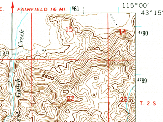 Reduced fragment of topographic map en--usgs--063k--056197--(1958)--N043-15_W115-15--N043-00_W115-00