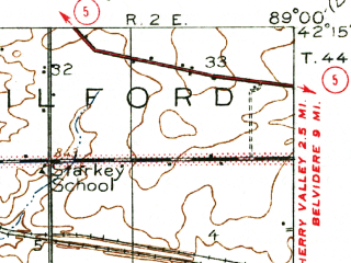 Reduced fragment of topographic map en--usgs--063k--056202--(1918)--N042-15_W089-15--N042-00_W089-00; towns and cities Davis Junction, New Millford, Stillman Valley