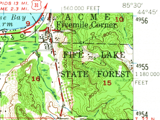 Reduced fragment of topographic map en--usgs--063k--056208--(1956)--N044-45_W085-45--N044-30_W085-30; towns and cities Buckley, Kingsley