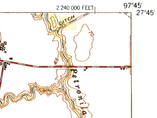 Reduced fragment of topographic map en--usgs--063k--056214--(1954)--N027-45_W098-00--N027-30_W097-45; towns and cities Kingsville, Driscoll, Bishop