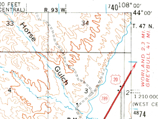 Reduced fragment of topographic map en--usgs--063k--056228--(1945)--N044-00_W108-15--N043-45_W108-00; towns and cities Kirby
