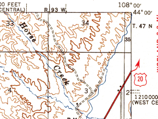 Reduced fragment of topographic map en--usgs--063k--056228--(1946)--N044-00_W108-15--N043-45_W108-00; towns and cities Kirby