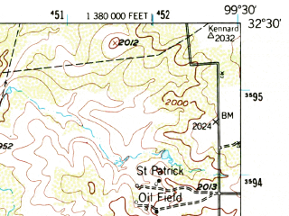 Reduced fragment of topographic map en--usgs--063k--056229--(1957)--N032-30_W099-45--N032-15_W099-30; towns and cities Abilene, Impact, Potosi