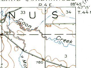 Reduced fragment of topographic map en--usgs--063k--056232--(1918)--N042-15_W089-00--N042-00_W088-45; towns and cities Cherry Valley, Kingston, Kirkland