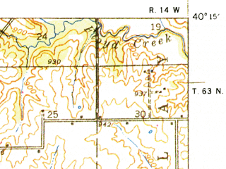Reduced fragment of topographic map en--usgs--063k--056233--(1938)--N040-15_W092-45--N040-00_W092-30 in area of Forest Lake; towns and cities Kirksville, Millard, Novinger, South Gifford