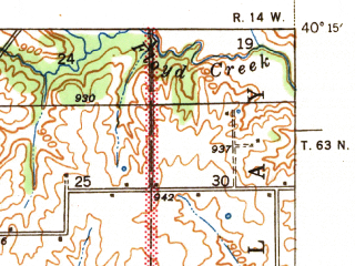 Reduced fragment of topographic map en--usgs--063k--056233--(1940)--N040-15_W092-45--N040-00_W092-30 in area of Forest Lake; towns and cities Kirksville, Millard, Novinger, South Gifford