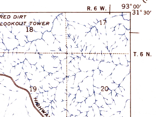 Reduced fragment of topographic map en--usgs--063k--056235--(1942)--N031-30_W093-15--N031-15_W093-00; towns and cities Simpson