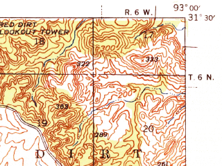 Reduced fragment of topographic map en--usgs--063k--056235--(1943)--N031-30_W093-15--N031-15_W093-00; towns and cities Simpson