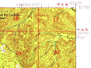 Reduced fragment of topographic map en--usgs--063k--056235--(1954)--N031-30_W093-15--N031-15_W093-00; towns and cities Simpson