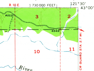 Reduced fragment of topographic map en--usgs--063k--056251--(1957)--N043-00_W121-45--N042-45_W121-30