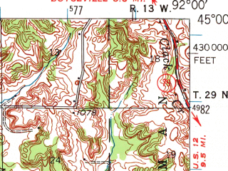 Reduced fragment of topographic map en--usgs--063k--056256--(1946)--N045-00_W092-15--N044-45_W092-00; towns and cities Elmwood, Knapp, Spring Valley