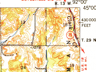 Reduced fragment of topographic map en--usgs--063k--056256--(1949)--N045-00_W092-15--N044-45_W092-00; towns and cities Elmwood, Knapp, Spring Valley