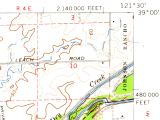 Reduced fragment of topographic map en--usgs--063k--056260--(1952)--N039-00_W121-45--N038-45_W121-30