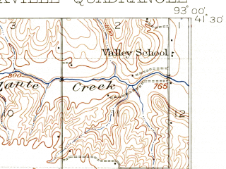 Reduced fragment of topographic map en--usgs--063k--056267--(1909)--N041-30_W093-15--N041-15_W093-00; towns and cities Knoxville