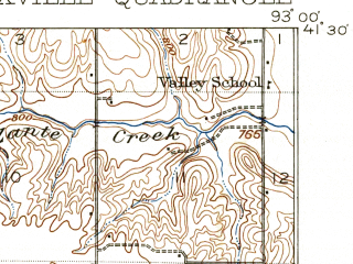 Reduced fragment of topographic map en--usgs--063k--056267--(1912)--N041-30_W093-15--N041-15_W093-00; towns and cities Knoxville