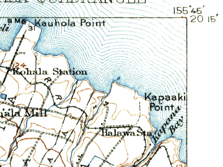Reduced fragment of topographic map en--usgs--063k--056289--(1916)--N020-15_W156-00--N020-00_W155-45; towns and cities Halaula, Hawi, Kapaau