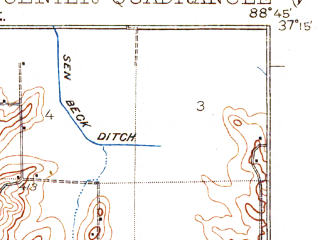 Reduced fragment of topographic map en--usgs--063k--056365--(1932)--N037-15_W089-00--N037-00_W088-45; towns and cities Joppa, Kevil, La Center