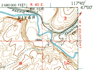 Reduced fragment of topographic map en--usgs--063k--056367--(1950)--N047-00_W118-00--N046-45_W117-45; towns and cities La Crosse