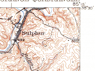 Reduced fragment of topographic map en--usgs--063k--056374--(1932)--N038-30_W085-30--N038-15_W085-15; towns and cities Crestwood, La Grange, Park Lake