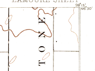 Reduced fragment of topographic map en--usgs--063k--056384--(1894)--N046-30_W098-30--N046-15_W098-15 in area of Lake Lamoure; towns and cities Berlin, La Moure