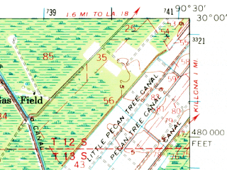 Reduced fragment of topographic map en--usgs--063k--056402--(1962)--N030-00_W090-45--N029-45_W090-30 in area of Lake Boeuf; towns and cities North Vacherie, South Vacherie