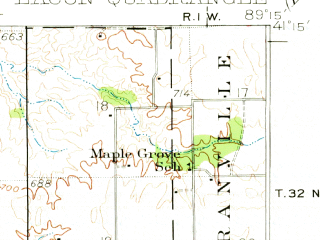Reduced fragment of topographic map en--usgs--063k--056403--(1933)--N041-15_W089-30--N041-00_W089-15; towns and cities Henry, Lacon, Sparland