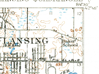 Reduced fragment of topographic map en--usgs--063k--056412--(1912)--N043-00_W084-30--N042-45_W084-15; towns and cities Haslett, Laingsburg