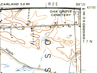 Reduced fragment of topographic map en--usgs--063k--056412--(1944)--N043-00_W084-30--N042-45_W084-15; towns and cities Haslett, Laingsburg