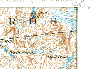 Reduced fragment of topographic map en--usgs--063k--056422--(1913)--N044-15_W075-30--N044-00_W075-15 in area of Lake Bonaparte; towns and cities Harrisville