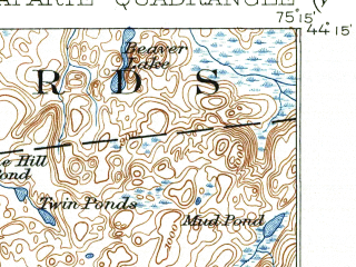 Reduced fragment of topographic map en--usgs--063k--056422--(1916)--N044-15_W075-30--N044-00_W075-15 in area of Lake Bonaparte; towns and cities Harrisville