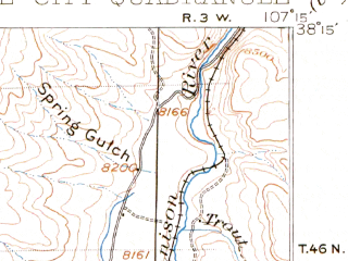 Reduced fragment of topographic map en--usgs--063k--056429--(1903)--N038-15_W107-30--N038-00_W107-15; towns and cities Lake City