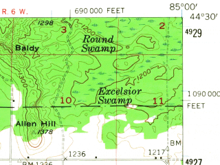 Reduced fragment of topographic map en--usgs--063k--056431--(1956)--N044-30_W085-15--N044-15_W085-00; towns and cities Lake City