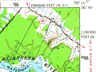Reduced fragment of topographic map en--usgs--063k--056462--(1940)--N036-45_W076-30--N036-30_W076-15 in area of Lake Drummond; towns and cities Chesapeake