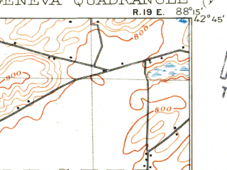 Reduced fragment of topographic map en--usgs--063k--056468--(1904)--N042-45_W088-30--N042-30_W088-15 in area of Powers Lake; towns and cities Burlington, Lake Geneva, Pell Lake, Powers Lake, Twin Lakes