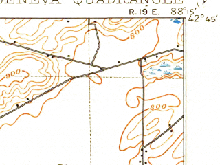 Reduced fragment of topographic map en--usgs--063k--056468--(1906)--N042-45_W088-30--N042-30_W088-15 in area of Powers Lake; towns and cities Lake Geneva, Burlington, Pell Lake, Powers Lake, Twin Lakes