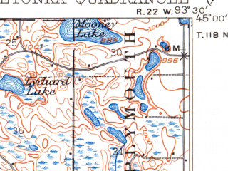Reduced fragment of topographic map en--usgs--063k--056484--(1905)--N045-00_W093-45--N044-45_W093-30 in area of West Arm, Lake Minnewashta, Whaletail Lake; towns and cities Chanhassen, Chaska, Mound, Orono, Shorewood