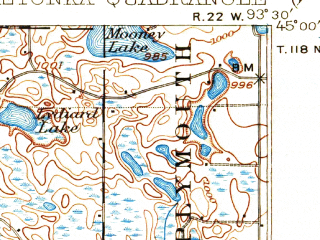 Reduced fragment of topographic map en--usgs--063k--056484--(1907)--N045-00_W093-45--N044-45_W093-30 in area of West Arm, Lake Minnewashta, Whaletail Lake; towns and cities Chanhassen, Chaska, Mound, Orono, Shorewood