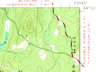 Reduced fragment of topographic map en--usgs--063k--056489--(1953)--N044-30_W074-00--N044-15_W073-45 in area of Taylor Pond; towns and cities Lake Placid