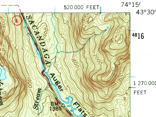 Reduced fragment of topographic map en--usgs--063k--056490--(1954)--N043-30_W074-30--N043-15_W074-15 in area of Lake Pleasant