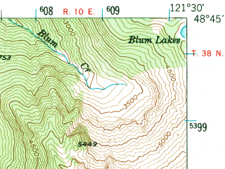 Reduced fragment of topographic map en--usgs--063k--056493--(1952)--N048-45_W121-45--N048-30_W121-30 in area of Baker Lake; towns and cities Concrete