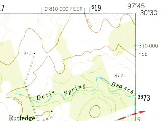 Reduced fragment of topographic map en--usgs--063k--056497--(1959)--N030-30_W098-00--N030-15_W097-45 in area of Lake Austin; towns and cities Austin, Jollyville, Anderson Mill, Lakeway, Lost Creek
