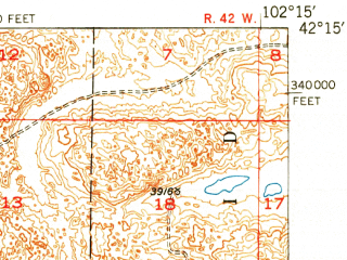 Reduced fragment of topographic map en--usgs--063k--056509--(1950)--N042-15_W102-30--N042-00_W102-15