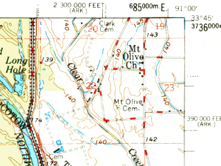 Reduced fragment of topographic map en--usgs--063k--056525--(1977)--N033-45_W091-15--N033-30_W091-00 in area of Lake Whittington; towns and cities Arkansas City, Benoit